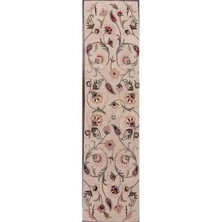 "Copper Grove Oreinis Classical Handmade Oushak Agra Indian Oriental Floral Rug Beige - 11'9"" x 2'6"" runner"