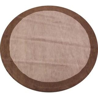 Tribal Hand Made Woolen Gabbeh Oriental Solid Area Rug - 8' Round