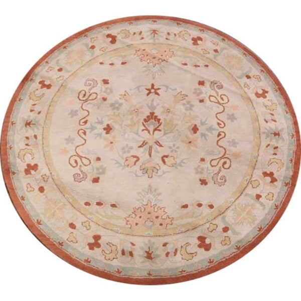 Hand Tufted Agra Red Gold Wool Rug 8 Round: Shop Agra Indian Oriental Hand Tufted Floral Area Rug