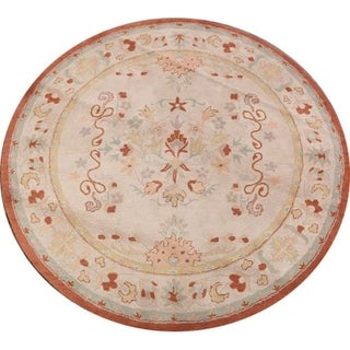 Agra Indian Oriental Hand Tufted Floral Area Rug - 8' Round