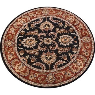 """Copper Grove Templos floral Traditional Handmade Tabriz Agra Indian Oriental Area Rug - 8'2"""" round"""