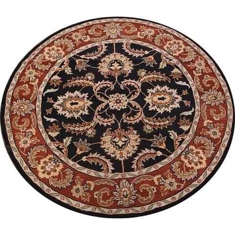 "Copper Grove Kornos Agra Oushak Handmade Wool Floral Indian Oriental Rug - 10'0"" Round"