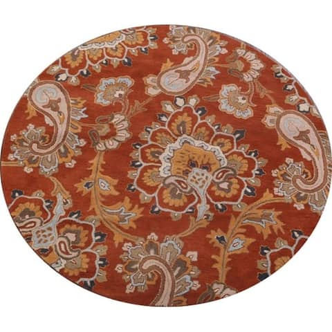 Gracewood Hollow Baronian Hand Blend Hand tufted Wool Oriental Wool Oriental Paisley Rug - 8' Round - 8' Round