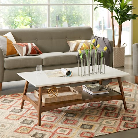 Madison Park Avalon White/ Pecan Coffee Table
