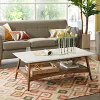 Madison Park Avalon White/ Pecan Coffee Table