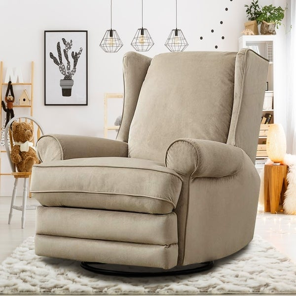 Shop Modern Wingback Swivel Gliding Recliner Chairs Soft ...