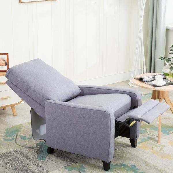 Shop Manual Recliner Chair Modern Linen Track Arm Push