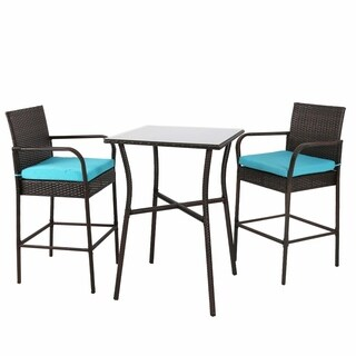 Kinbor Outdoor 3-piece Wicker Square Bar Set Rattan Table & Barstool Dinning Set