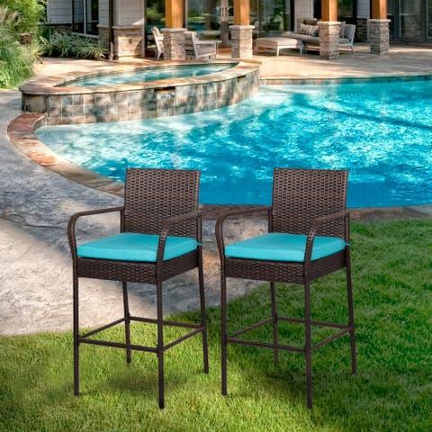 Kinbor Set of 2 Patio Bar Stool Outdoor Wicker Barstool Backyard High Chair Pool Furniture with Cushions