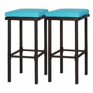 Kinbor Outdoor Wicker Barstool Dining Chairs Counter Height Stool (Set of 2)