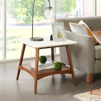 "Madison Park Avalon White/ Pecan End Table - 24""w x 24""d x 22""h"