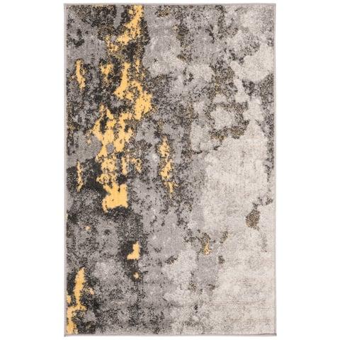 "Safavieh Adirondack Apollo Modern Abstract Grey / Yellow Area Rug - 2'6"" x 4'"