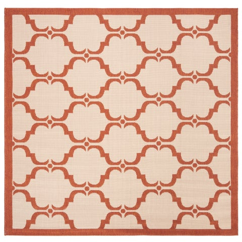 "Safavieh Washable Courtyard Transitional Beige / Terracotta Rug - 5'3"" x 5'3"" Square"