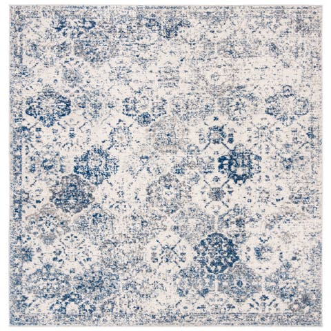 "Safavieh Madison Avery Boho Vintage White/ Royal Blue Distressed Rug - 6'7"" x 6'7"" Square"