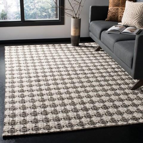 Safavieh Handmade Natura Transitional Black / Ivory Wool Rug - 3' x 5'