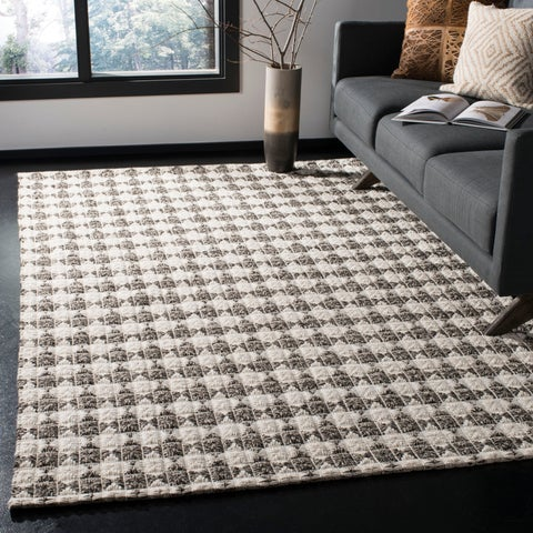 Safavieh Handmade Natura Transitional Black / Ivory Wool Rug - 6' x 6' Square