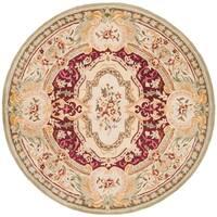 Safavieh Handmade Savonnerie Traditional Red / Ivory Wool Rug - 6' x 6' Round