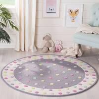 Safavieh Kids Handmade Polka Dot Grey / Multi Wool Rug - 5' x 5' Round