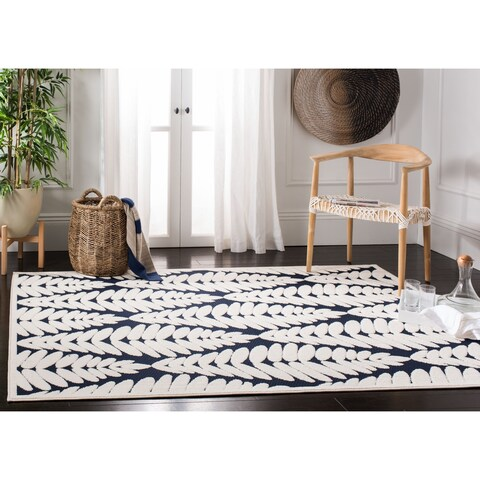 "Safavieh Washable Monroe Modern & Contemporary Navy / Creme Rug - 5'3"" x 7'7"""