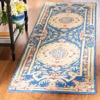 "Safavieh Handmade Savonnerie Traditional Blue / Ivory Wool Rug - 2'6"" x 8'"