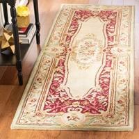 "Safavieh Handmade Savonnerie Traditional Red / Ivory Wool Rug - 2'6"" x 8'"