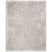 Safavieh Handmade Rivera Shag Light Grey Polyester Rug - 8' x 10'