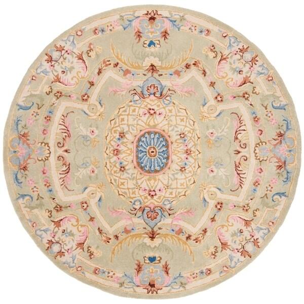 Safavieh Handmade Savonnerie Traditional Sage / Blue Wool Rug - 6' x 6' Round