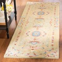 Safavieh Handmade Savonnerie Traditional Sage / Blue Wool Rug - 6' x 6' Square
