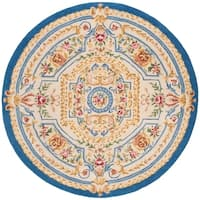 Safavieh Handmade Savonnerie Traditional Blue / Ivory Wool Rug - 6' x 6' Round