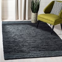 Safavieh Handmade Vintage Leather Modern & Contemporary Black / Grey Leather Rug - 8' x 10'