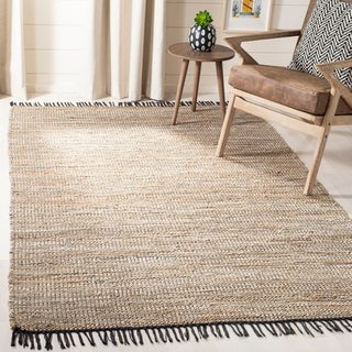 Safavieh Handmade Vintage Boho Leather Hallie Modern Stripe Leather Rug with Fringe