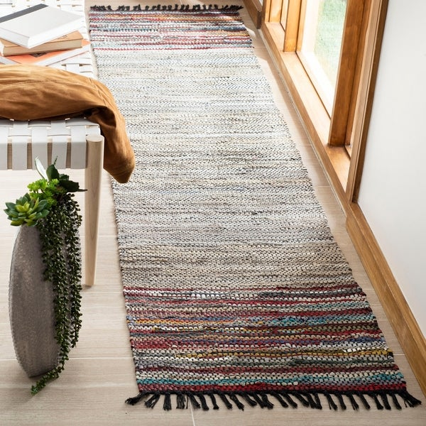 Safavieh Handmade Vintage Boho Leather Mietta Modern Stripe Leather Rug with Fringe