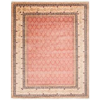 Safavieh Couture Handmade Samarkand Traditional Red / Lemon Wool Rug - 8' x 10'