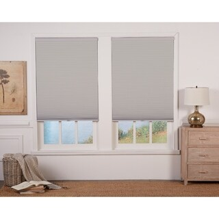 Sterling Grey/White 64-inch Long Cordless Blackout Cellular Shade