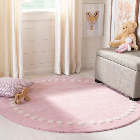 Safavieh Kids Kids & Tween Pink Wool Rug - 5' x 5' Round