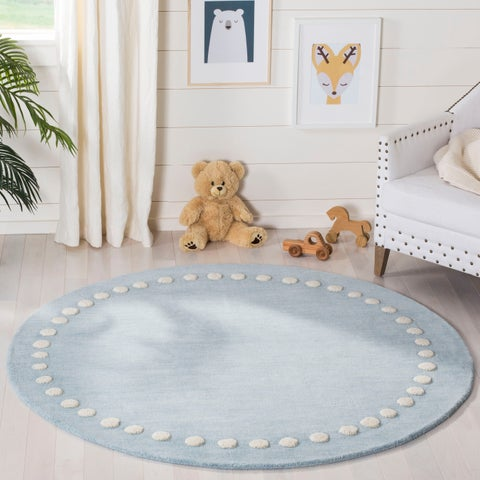 Safavieh Kids Kids & Tween Blue / Ivory Wool Rug - 5' x 5' Round