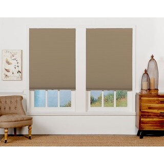 Sand/White 72-inch Long Cordless Blackout Cellular Shade
