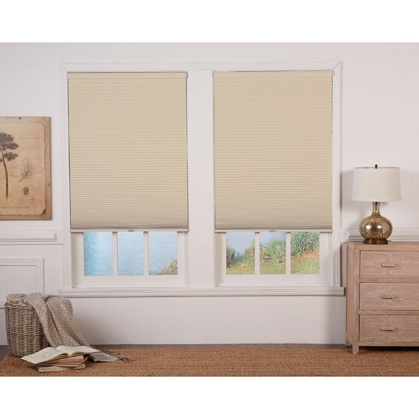 Copper Grove Yerevan 72-inch Tan/White Cordless Blackout Cellular Shade. Opens flyout.