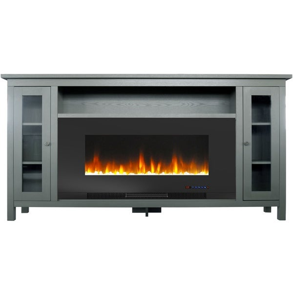 Shop Cambridge Somerset 70 In Gray Electric Fireplace Tv Stand With