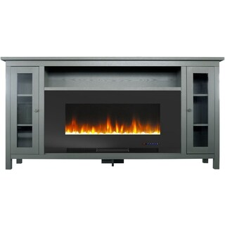 Cambridge Somerset 70-In. Gray Electric Fireplace TV Stand with Multi-Color LED Flames, Crystal Rock Display, and Remote Control