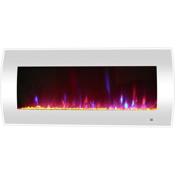 Brilliant Cambridge 42 In Curved Wall Mount Electric Fireplace Heater In White Interior Design Ideas Gentotryabchikinfo