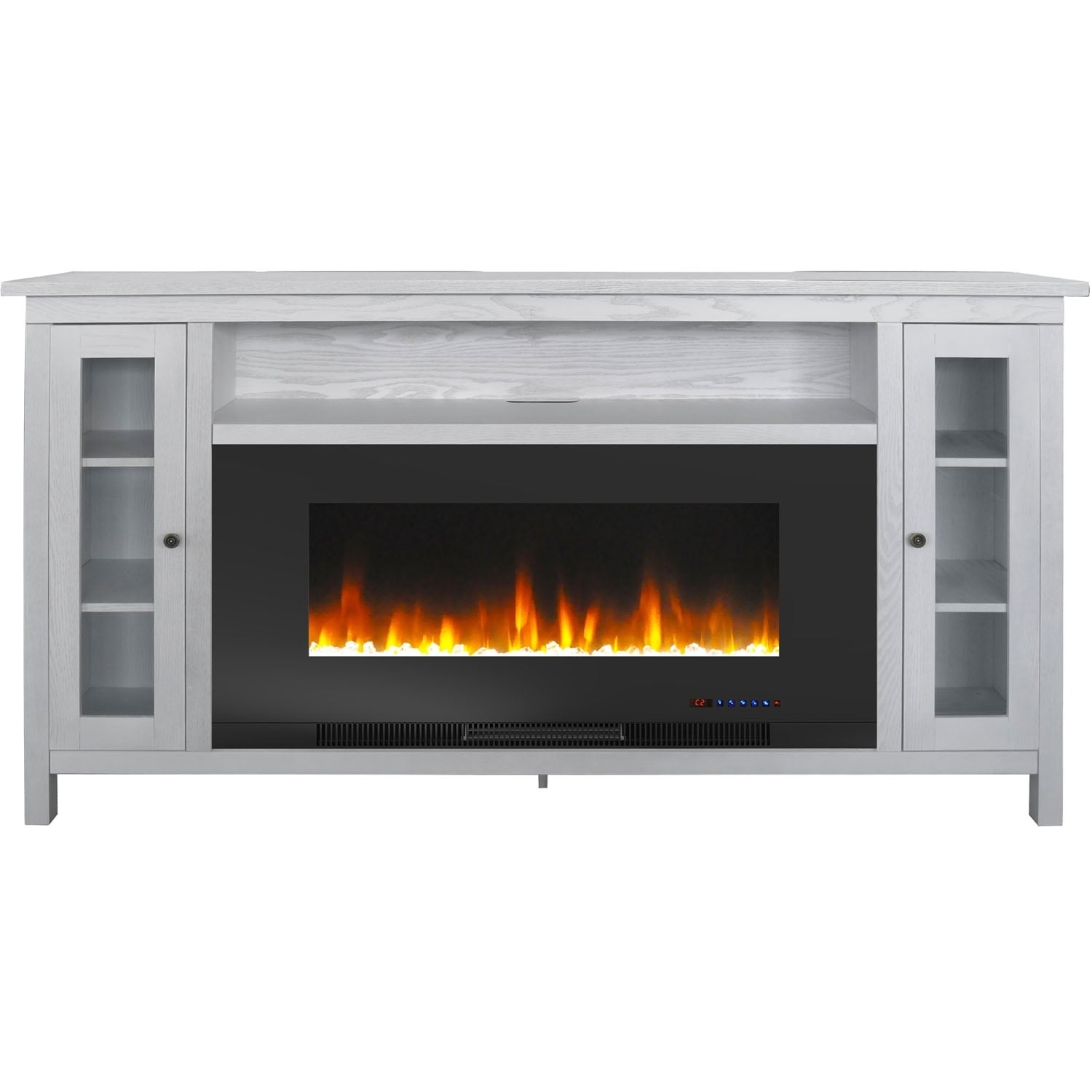 Cambridge Somerset 70 In White Electric Fireplace Tv Stand Overstock 25727770