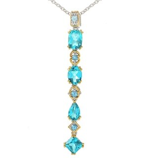 Michael Valitutti Palladium Silver Multi Shape Paraiba Color Swiss Blue Topaz Pendant