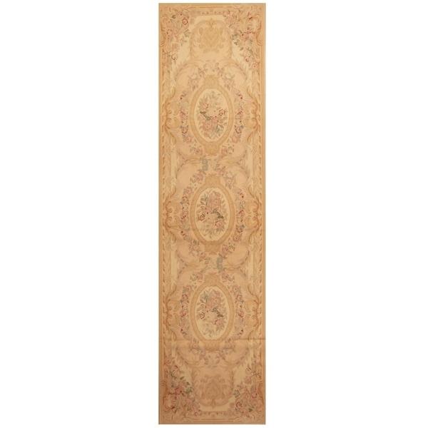 Handmade Sino Aubusson Flatweave Wool Rug - 2'7 x 10'