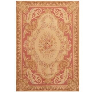 Handmade Herat Oriental Sino Hand-woven Aubusson Wool Rug (5'6 x 8')