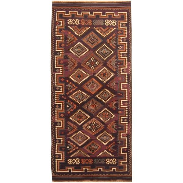 Handmade Kazak Wool Kilim Rug (Azerbaijan) - 5' x 11'3