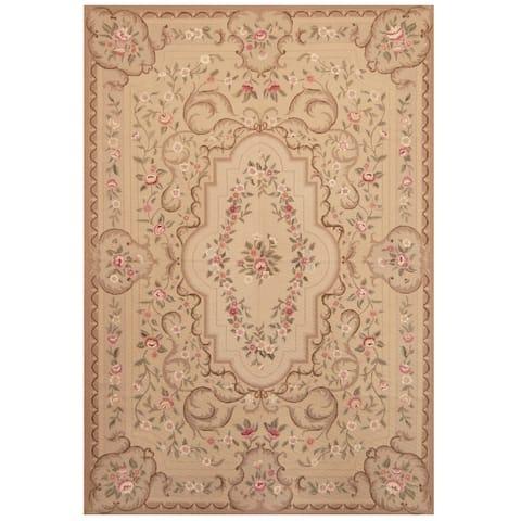 Handmade One-of-a-Kind Sino Aubusson Flatweave Wool Rug - 6' x 9'