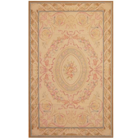 Handmade One-of-a-Kind Sino Aubusson Flatweave Wool Rug - 5' x 8'