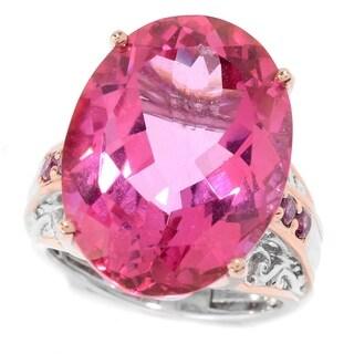 Michael Valitutti Palladium Silver Pink Topaz Rhodolite Cocktail Ring