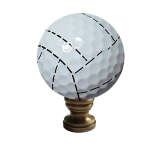 """Volleyball Lamp Finial, Yellow with White Stripes, 2.25""""h"""